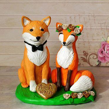 Свадебный салон ручной работы. Ярмарка Мастеров - ручная работа Фигурки на торт собачка Сиба-ину и лисичка. Handmade.