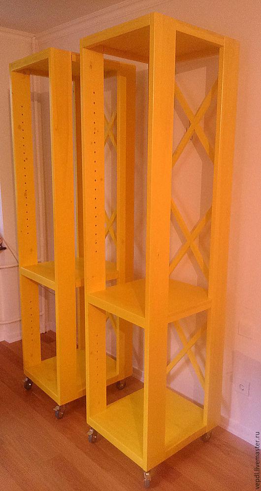 Мебель ручной работы. Ярмарка Мастеров - ручная работа. Купить Стеллаж. Handmade. Желтый, сосна, колеса