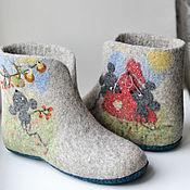 """Обувь ручной работы. Ярмарка Мастеров - ручная работа Валяные чуни """"Запасливые мышки"""". Handmade."""