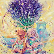 Картины и панно handmade. Livemaster - original item Oil painting on canvas. Summer day in Provence. Lavender bear Bunny. Handmade.