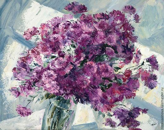 Картины цветов ручной работы. Ярмарка Мастеров - ручная работа. Купить Хризантемки. Handmade. Розовый, масляная живопись, цветы