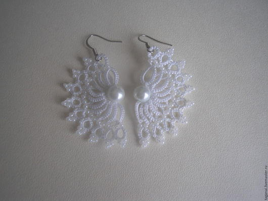 """Серьги ручной работы. Ярмарка Мастеров - ручная работа. Купить Свадебные серьги  """"Белые крылья"""". Handmade. Белый, серьги с жемчужинами"""