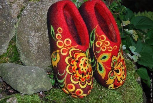 Обувь ручной работы. Ярмарка Мастеров - ручная работа. Купить Тапочки «Хохлома»  Русский стиль. Handmade. Хохломская роспись