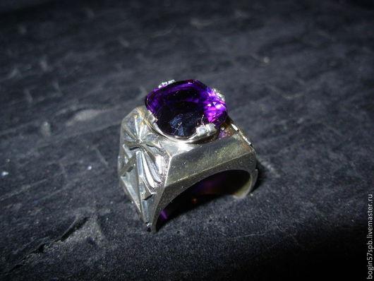 Кольца ручной работы. Ярмарка Мастеров - ручная работа. Купить перстень с аметистом. Handmade. Тёмно-фиолетовый, серебро 925 пробы