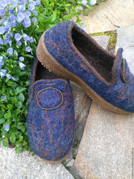 Обувь ручной работы. Ярмарка Мастеров - ручная работа. Купить Лоферы войлочные. Handmade. Тёмно-синий, женская валяная обувь