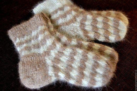 Носки, Чулки ручной работы. Ярмарка Мастеров - ручная работа. Купить Носки собачья шерсть+лен двухцветные. Handmade. Белый
