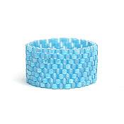 Украшения ручной работы. Ярмарка Мастеров - ручная работа Голубое кольцо из бисера Нежное голубое кольцо ручной работы. Handmade.
