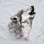 Одежда handmade. Livemaster - original item T-shirt  hand painted  Wolf. Handmade.