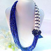 Украшения handmade. Livemaster - original item Pearl necklace with lapis lazuli