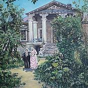 Картины и панно handmade. Livemaster - original item Oil Painting Grandmother`s Garden Summer Landscape Mansion House. Handmade.