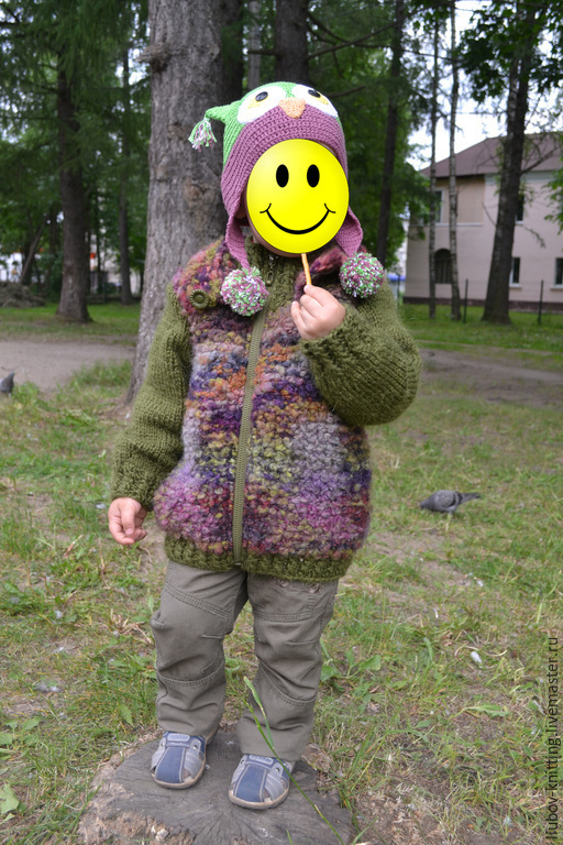 Одежда унисекс ручной работы. Ярмарка Мастеров - ручная работа. Купить курточка вязаная детская. Handmade. Разноцветный, весенняя куртка