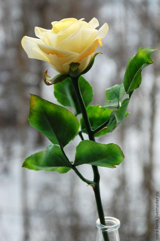 Цветы ручной работы. Ярмарка Мастеров - ручная работа. Купить Желтая роза из полимерной глины. Handmade. Цветы, подарок женщине