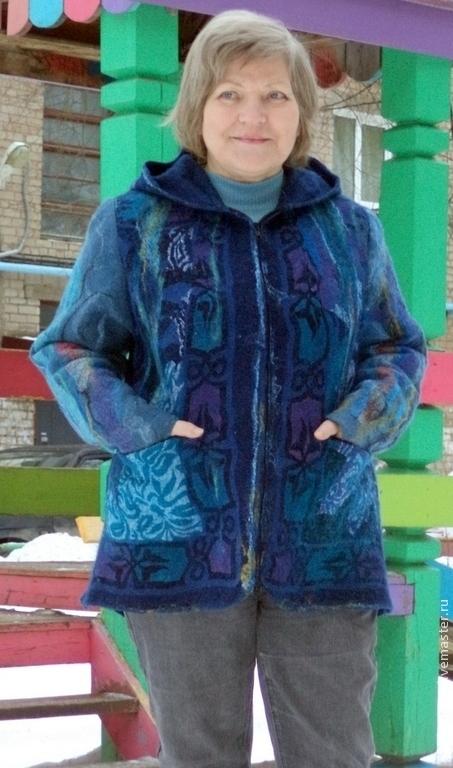 """Верхняя одежда ручной работы. Ярмарка Мастеров - ручная работа. Купить Куртка валяная """" Василинка"""". Handmade. Синий"""