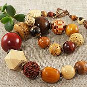 Колье ручной работы. Ярмарка Мастеров - ручная работа Бусы Вишня в шоколаде №2, деревянные. Handmade.