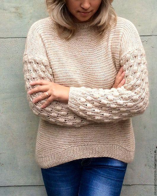 Кофты и свитера ручной работы. Ярмарка Мастеров - ручная работа. Купить Пуловер. Handmade. Золотой, свитер женский, свитер с рисунком