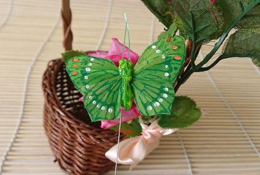Материалы для флористики ручной работы. Ярмарка Мастеров - ручная работа. Купить Бабочки на палочке Д41. Handmade. Бабочка, бабочка на подарок