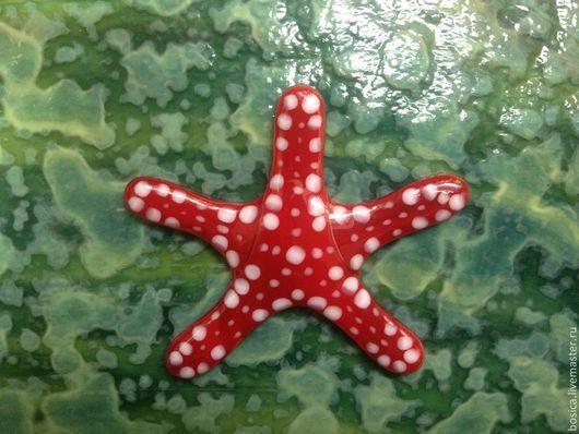 Декор поверхностей ручной работы. Ярмарка Мастеров - ручная работа. Купить Морская звезда, стекло фьюзинг. Handmade. Бордовый