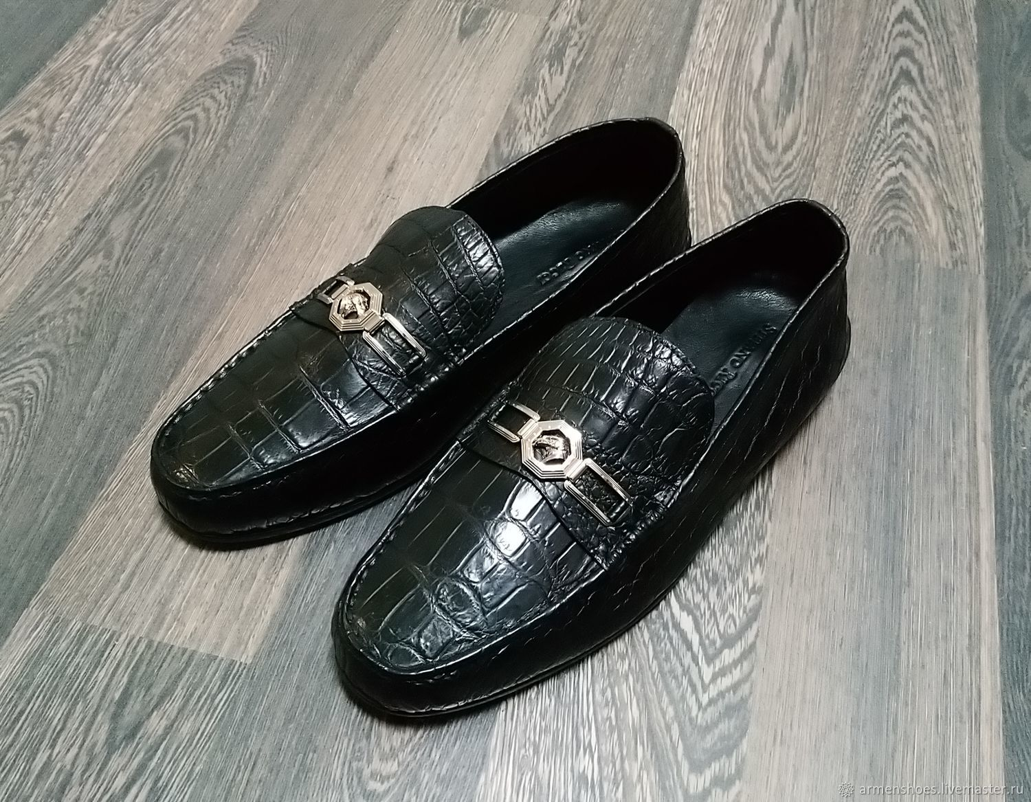 Moccasins made of genuine crocodile leather, black color!, Moccasins, Tosno,  Фото №1