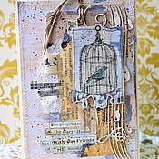 Открытки ручной работы. Ярмарка Мастеров - ручная работа Открыткf ручной работы.Птичка в клетке.. Handmade.