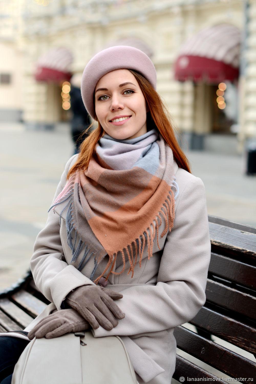 Asymmetric felt beret. Color Blush, Berets, Moscow,  Фото №1
