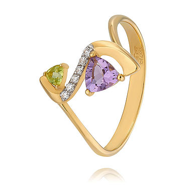 Decorations handmade. Livemaster - original item Ring with chrysolite and amethyst in red gold 585. Handmade.