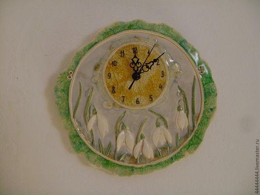 Часы для дома ручной работы. Ярмарка Мастеров - ручная работа. Купить Часы Подснежники Керамика. Handmade. Часы настенные