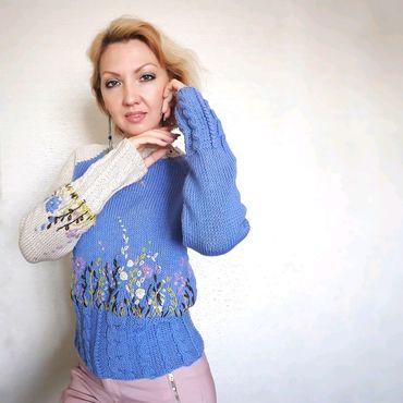 """Одежда ручной работы. Ярмарка Мастеров - ручная работа Авторский пуловер с вышивкой """"Марс в цвету"""". Handmade."""