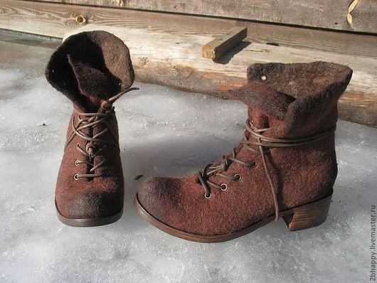 Обувь ручной работы. Ярмарка Мастеров - ручная работа. Купить Валяные ботинки MARCELLA-2. Handmade. Коричневый, шоколадный цвет