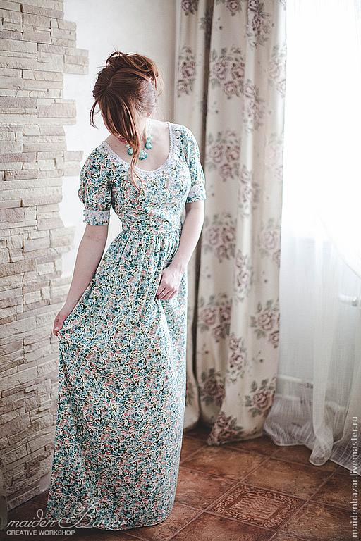 Платья ручной работы. Ярмарка Мастеров - ручная работа. Купить Платье на заказ. Handmade. Тёмно-бирюзовый, Кружевной воротник