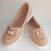 Обувь ручной работы. Ярмарка Мастеров - ручная работа Балетки вязаные Helen, беж., хлопок. Handmade.