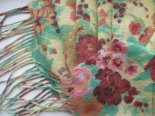 """Шарфы и шарфики ручной работы. Ярмарка Мастеров - ручная работа. Купить Шарфик """"Летний сад"""". Handmade. Нуновойлок, цветочный"""