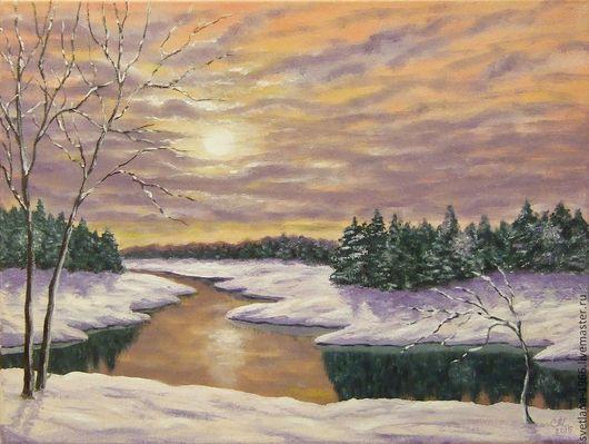 """Пейзаж ручной работы. Ярмарка Мастеров - ручная работа. Купить """"Зимнее солнце"""". Handmade. Картина на холсте, картина маслом, зима"""