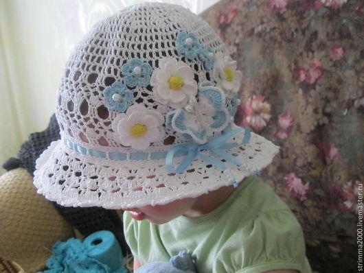 Панамы ручной работы. Ярмарка Мастеров - ручная работа. Купить Шляпка для девочки Голубые цветы. Handmade. Однотонный, вязаная шапочка