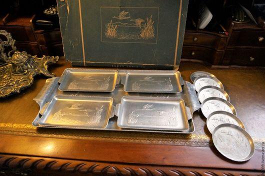 Винтажная посуда. Ярмарка Мастеров - ручная работа. Купить Винтажный алюминиевый набор из 11 предметов.. Handmade. Серебряный, винтаж США