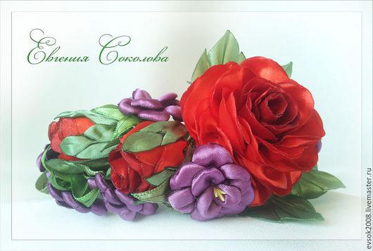 Диадемы, обручи ручной работы. Ярмарка Мастеров - ручная работа. Купить Ободок с цветами Розы. Handmade. Разноцветный, цветы в прическу