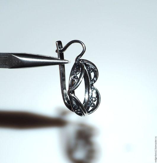 """Для украшений ручной работы. Ярмарка Мастеров - ручная работа. Купить Основа для серег """"Варвара""""(20х15) - серебрение 925 пробы. Handmade."""