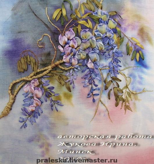 """Картины цветов ручной работы. Ярмарка Мастеров - ручная работа. Купить Авторская картина лентами """"Глициния"""" - глоток Венеции... Handmade."""