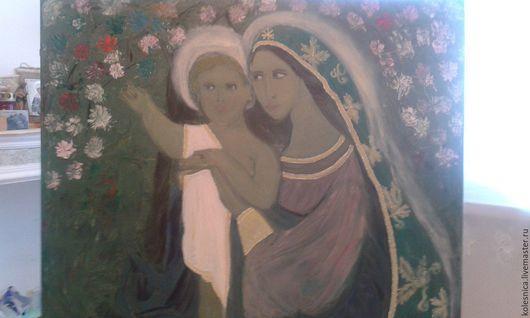 Иконы ручной работы. Ярмарка Мастеров - ручная работа. Купить Богородица с младенцем. Handmade. Тёмно-бирюзовый, картина в коллекцию, в подарок