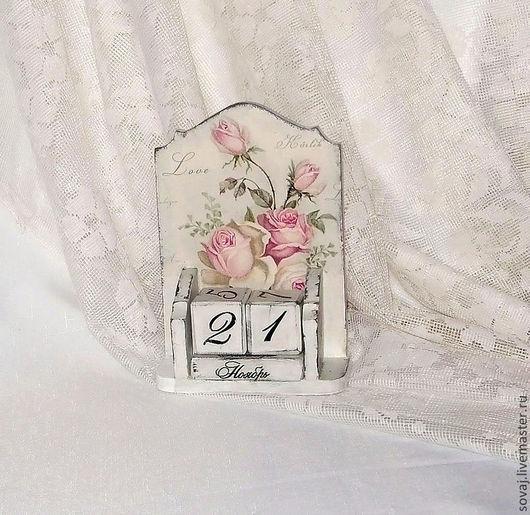 """Календари ручной работы. Ярмарка Мастеров - ручная работа. Купить Вечный календарь шебби шик  """" Розовый зефир"""". Handmade."""