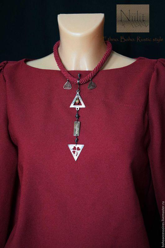 лен, этническое украшение, кельтика, кельтский, кельты, трилистник, огам, спираль, бохо, этно, медное украшение, медное колье, льняное украшение, льняное колье, изящное украшение, длинная подвеска