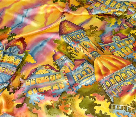 Шали, палантины ручной работы. Ярмарка Мастеров - ручная работа. Купить Платок шелковый батик Город золотой. Handmade. Комбинированный