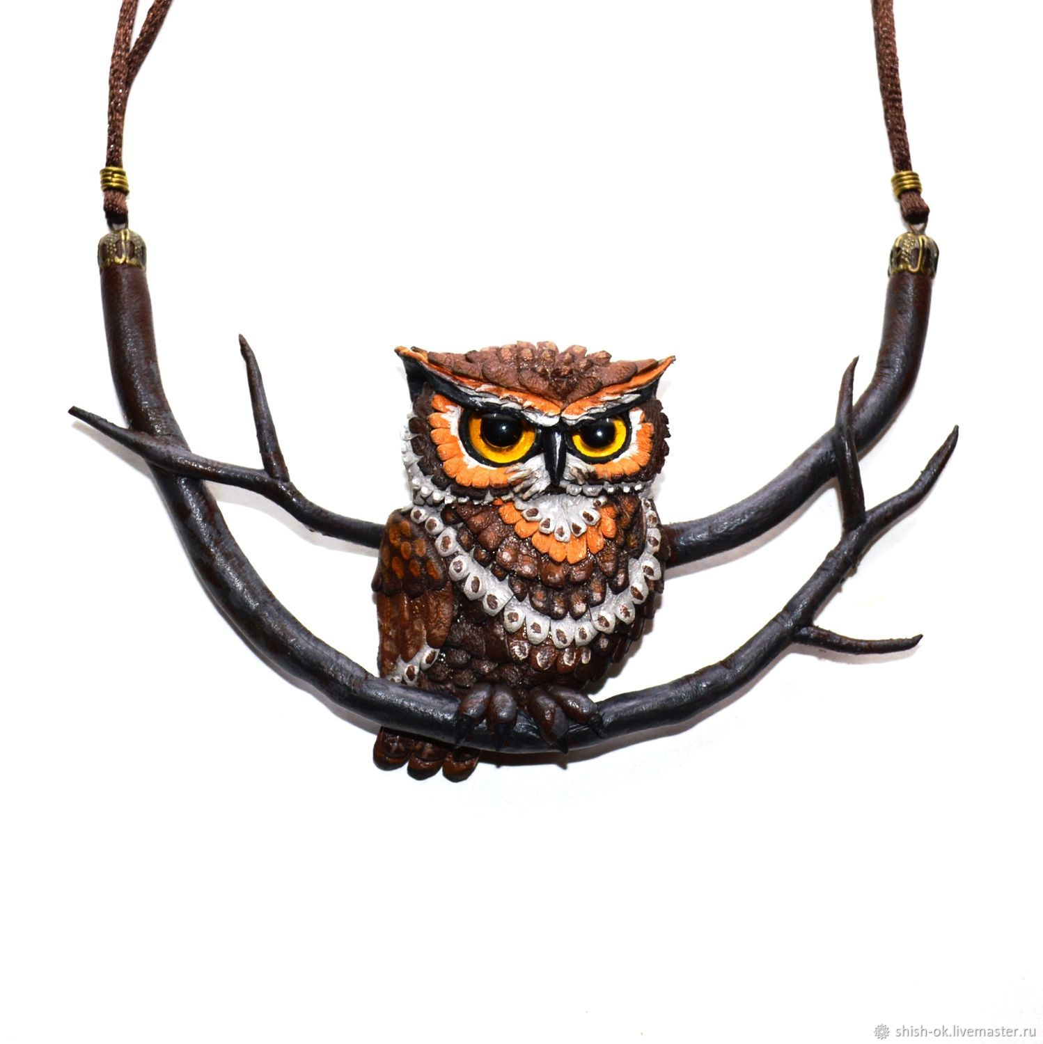 Necklace with leather 'owl', Necklace, Moscow,  Фото №1