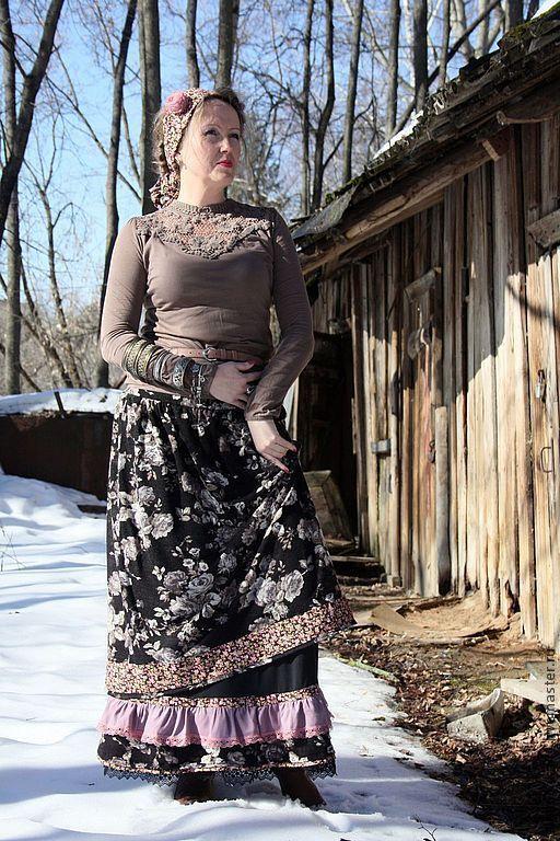 """Юбки ручной работы. Ярмарка Мастеров - ручная работа. Купить Длинная юбка в стиле бохо """"Финифть"""". Handmade. Темно-серый"""