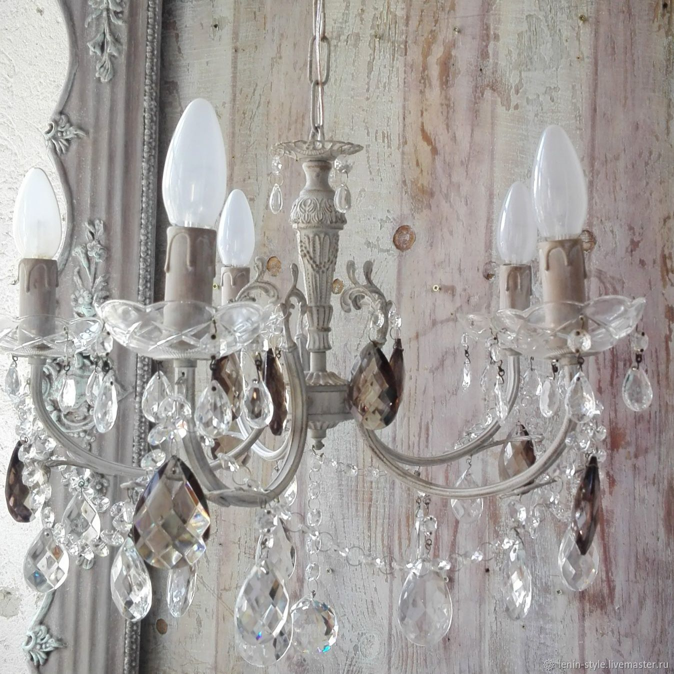 Vintage crystal chandelier caramel provence shabby chic