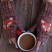 Аксессуары handmade. Livemaster - original item Knitted mitts with the Fox. Handmade.