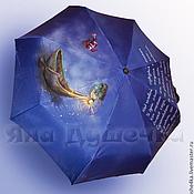 Аксессуары handmade. Livemaster - original item The umbrella women`s folding pattern to order Fish and boat. Handmade.