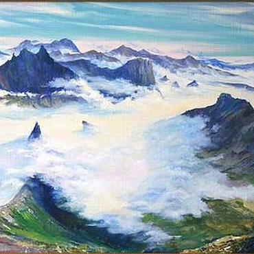 Картины и панно ручной работы. Ярмарка Мастеров - ручная работа Картина маслом на холсте Над облаками. Handmade.