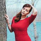 """Одежда ручной работы. Ярмарка Мастеров - ручная работа Платье вязаное """"В красном"""". Handmade."""
