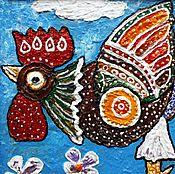 Картины и панно ручной работы. Ярмарка Мастеров - ручная работа Картина в детскую Петух. Handmade.