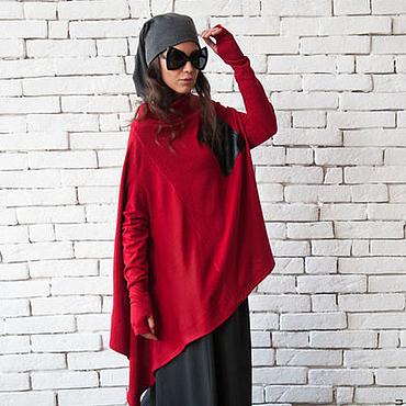 Одежда ручной работы. Ярмарка Мастеров - ручная работа Красный свитер, свободный свитер. Handmade.